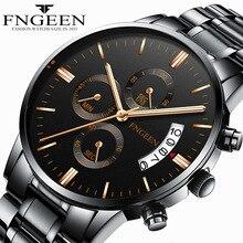 FNGEEN мужские спортивные кварцевые часы водостойкие Модные мужские Студенческие повседневные часы Авто Дата relogio masculino часы