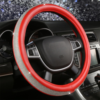 Luxury Crystal Steering Wheel Covers Car Cover on Steering Wheel Pink Red Beige Leather Auto Interior Accessories Rhinestone