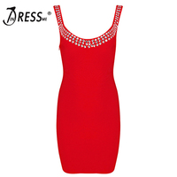 Forever Queen2016 New Style High Quality Red Sleeveless Strap V Neck Mini Diamonds Backless Sexy Women