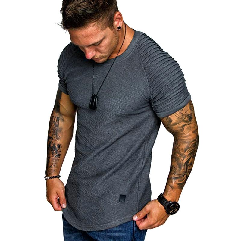 Men Shirts Solid Color O Collar Wrinkle Shoulder Summer Tops for Beach FC55