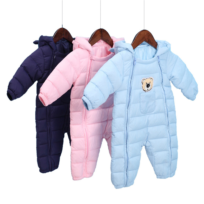 Winter Warm Baby Girl Boy Romper Newborn Cotton Down Jacket Jumpsuits Infant Hooded Snowsuit Clothes Kids Outerwear for 0-12M a15 girls jackets winter 2017 long warm duck down jacket for girl children outerwear jacket coats big girl clothes 10 12 14 year