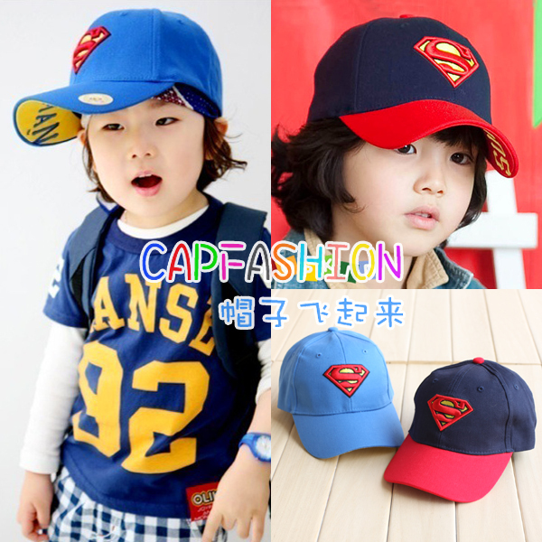 Super man baseball cap baby hat child cap bonnet male female child sun hat sunbonnet