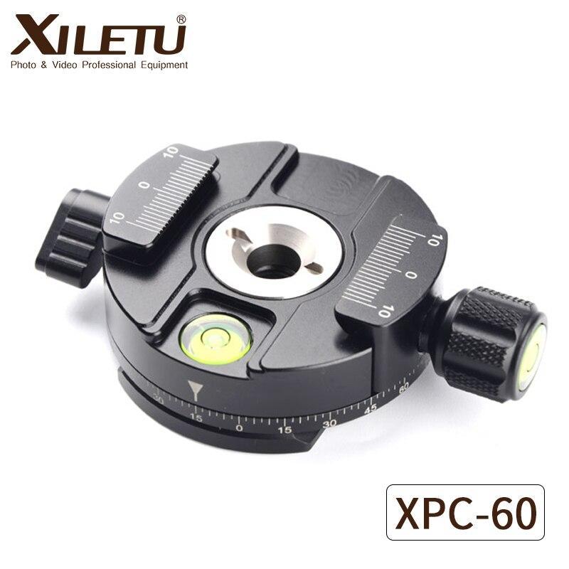 XILETU XPC-60 360 Degrés Panoramique Adaptateur Pince Trépied Monopodes Rapide Plaque De Montage Pour Arca Swiss