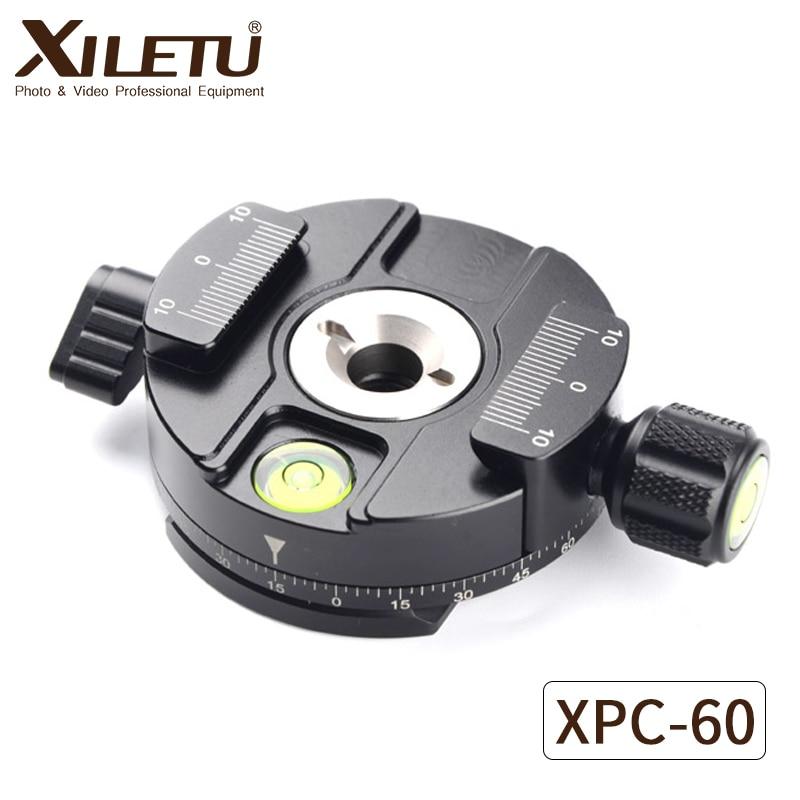 XILETU XPC-60 360 Degrés Panoramique Clamp Adaptateur Trépied Monopodes Rapide Plaque De Montage Pour Arca Suisse