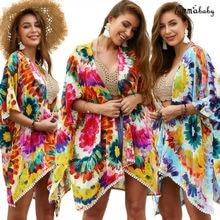 Женская шифоновая свободная шаль с принтом Кимоно Кардиган Топ накидка блузка пляжная одежда