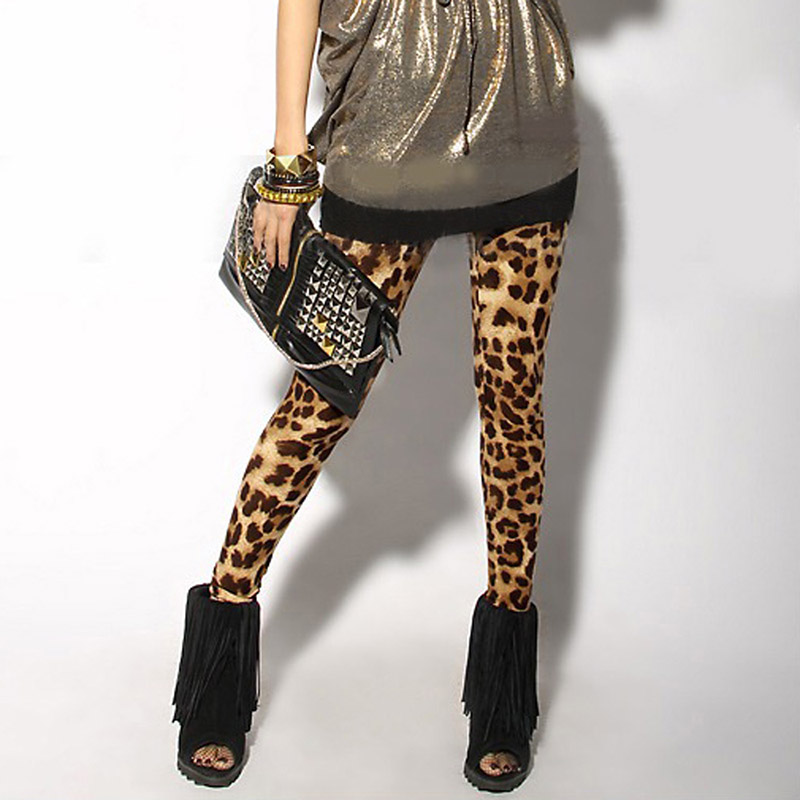 Spring Autumn Women Sexy Leggings Leopard Printed Stretch Cotton Lady Girls Pants QL Sale