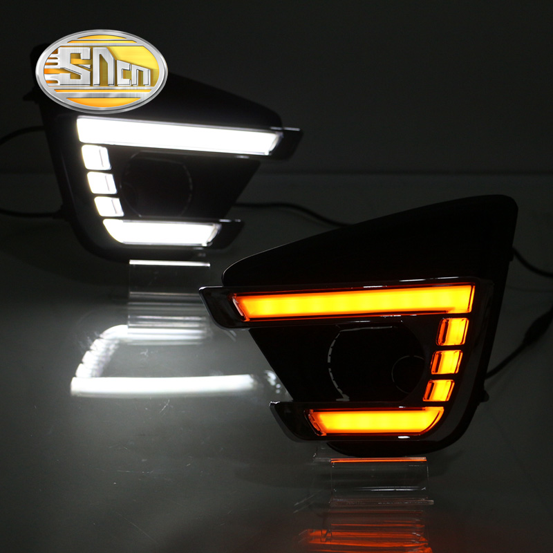 SNCN With Yellow Turning Signal Relay Car Accessories High Power LED Daytime Running Light LED DRL For Mazda CX-5 CX5 2015 2016