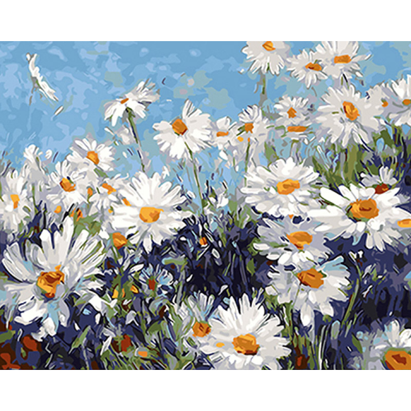 Sans cadre Blanc Fleurs BRICOLAGE Peinture Par Numéros Moderne Mur Art Photo Peinture Acrylique Cadeau Unique Pour La Décoration Intérieure 40x50 cm Illustration