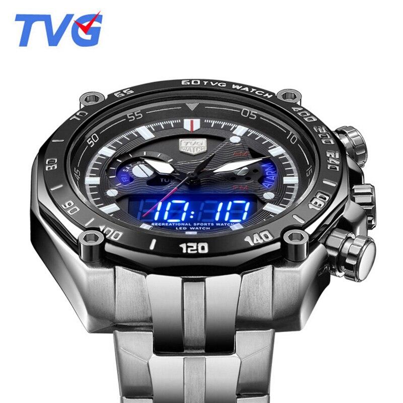 Top Brand Luxury TVG Watches Men Full Steel Dual Time Analog Digital Quartz Watches 30M Waterproof