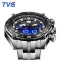 Top marca de luxo tvg relógios homens de aço cheio dupla tempo analógico Digital Relógios de Quartzo 100 M À Prova D' Água Esportes de Mergulho Relógios Para homens