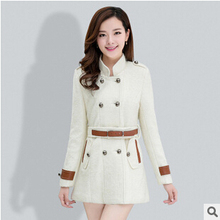 women jacket Autumn and winter new Korean Women Slim long section of double-breasted wool woolen coat free shipping