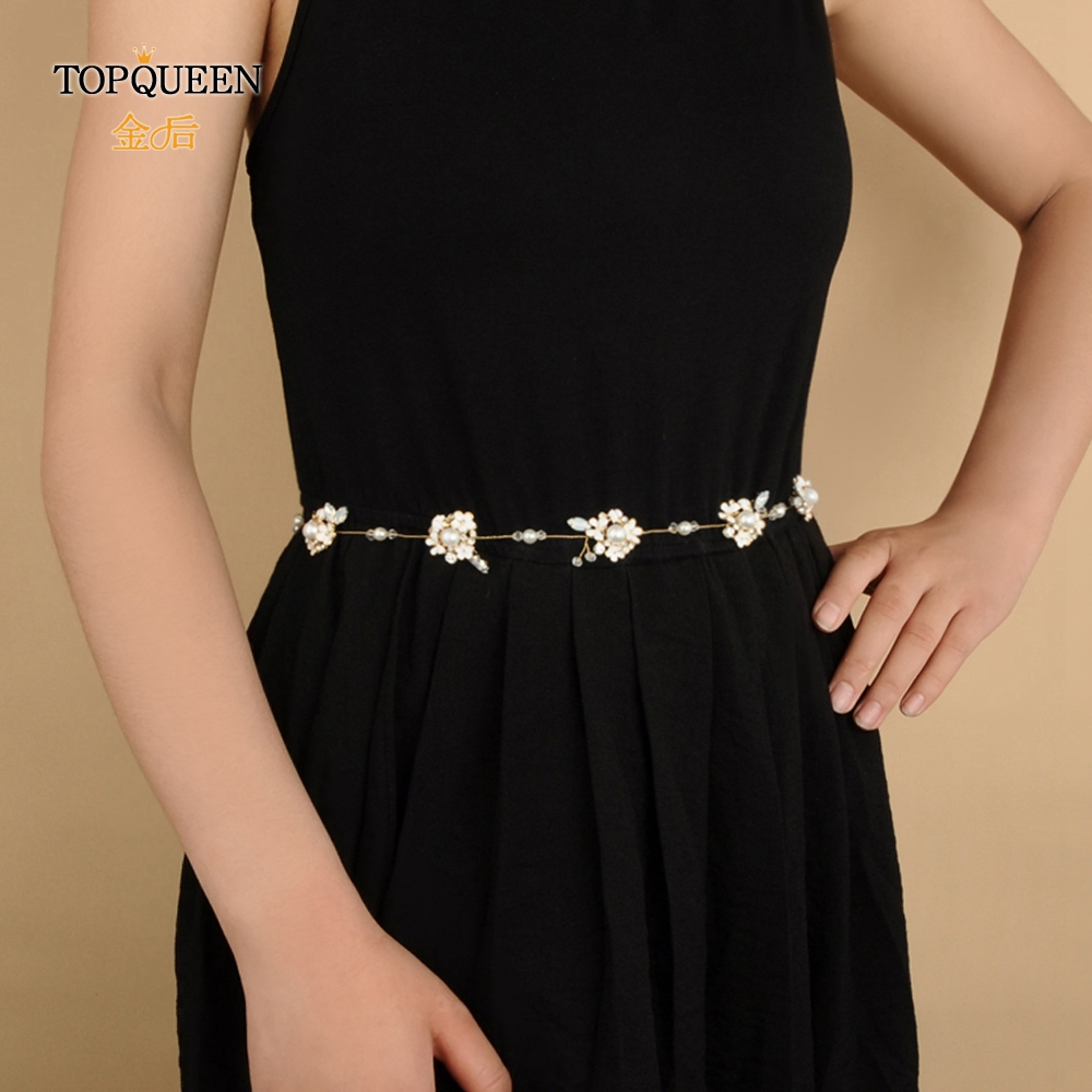 TOPQUEEN SH131 Wedding Belts With Rhinestones Alloy Flower Bridal Accessory Pearl Belts For Girlfriend Woman Flowers Belt