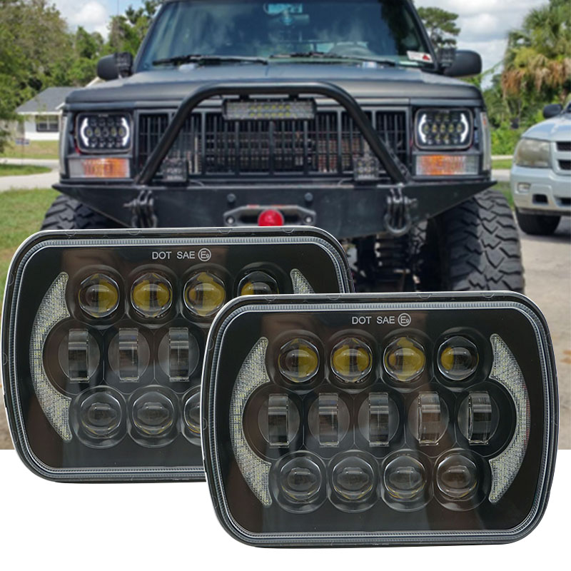 5x7 INCH LED Headlights Bulb Sealed Beam H6014 H6052 H6053 H6054 Projector Lens for Jeep Wrangler JK YJ CJ TJ MJ Cherokee XJ 5 x7 6 x7 high low beam led headlights for jeep wrangler yj cherokee xj h6054 h5054 h6054ll 69822 6052 6053 with angel eye