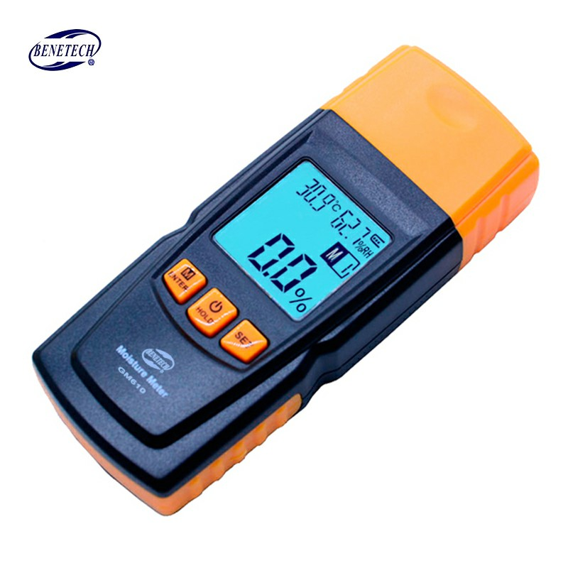 BENETECH GM610 Wood Moisture Meter 2Pins Humidity Tester Timber Damp Detector Hygrometer Range 0~70% Digital LCD Display