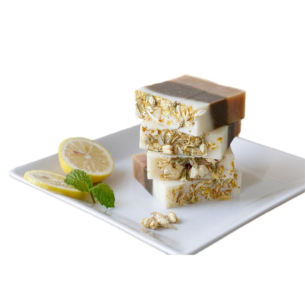 Lemon Mint Jasmine Handmade Whitening Soap Skin Deep Cleaning Brighten Moisturizing Soap Bath Shower Soap J11