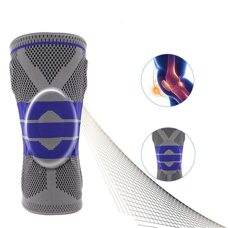 Nuevo gris elástico rodilla soporte rodillera rótula ajustable de la rodilla de baloncesto de seguridad de la correa de hombro de protección 1 unid