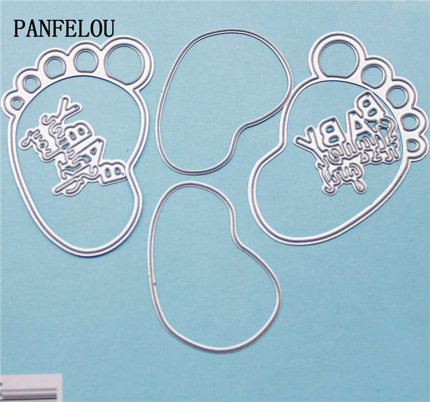 PANFELOU Your feet baby metal crafts paper die cutting dies for Scrapbooking/DIY wedding Halloween Hand account cards