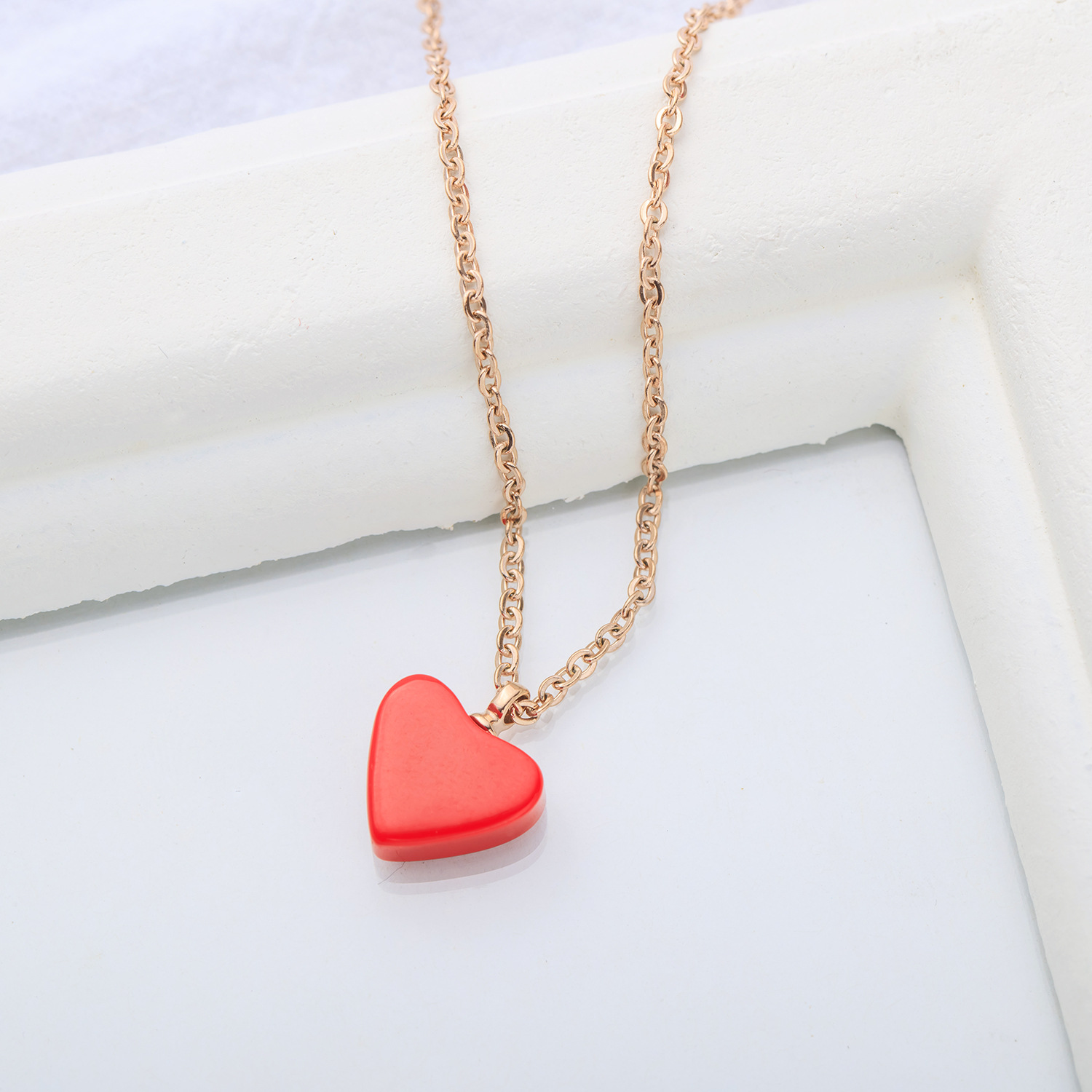Rose Gold Heart Necklace Feminine Red Heart Small Fresh Simple