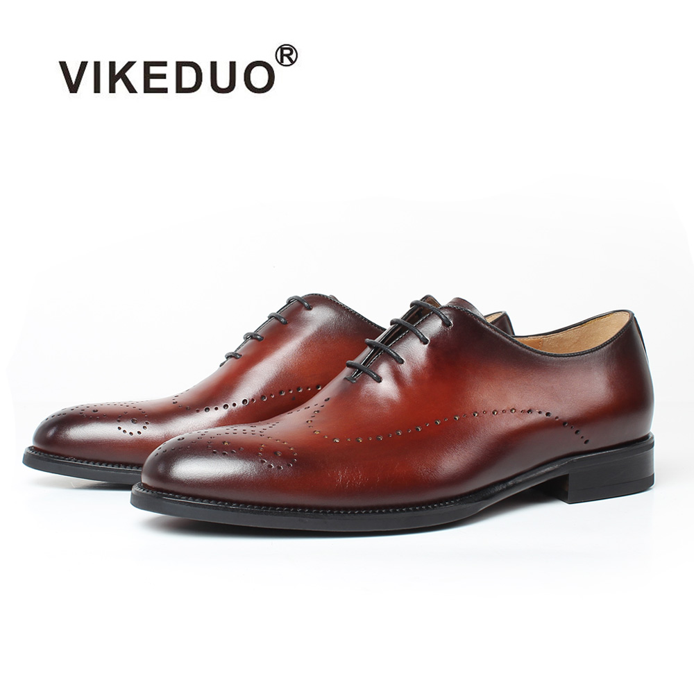 Vikeduo 2018 Handmade Brand Vintage Retro Brogue Office Wedding Party Dance Male Dress Genuine Leather Flat Mens Oxford Shoes