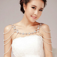 Fashion Unique Pearl Shoulder Chain Wedding Bridal Jewelry Two Ways Wear Necklace Rhinestone Crystal Flower Necklace
