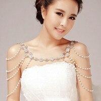Fashion Unique Pearl Shoulder Chain Wedding Bridal Jewelry Two Ways Wear Necklace Rhinestone Crystal Flower Necklace