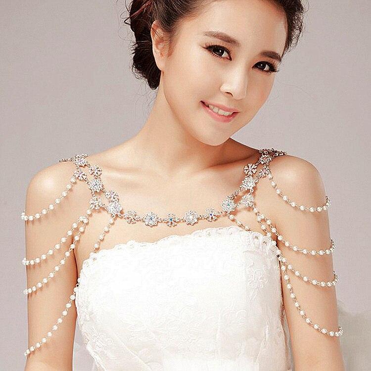 Fashion unique pearl shoulder chain wedding bridal jewelry two ways wear necklace rhinestone crystal flower necklace women chain