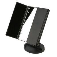 プロポータブル三折りたたみテーブルledランプ発光化粧ミラー調整可能な卓上カウンターライト技術ミラーポッ