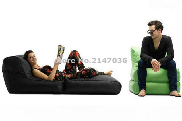Black Folded Up Design Bean Bag Chair,adults Folding Seat Sofa Beds, 2 In