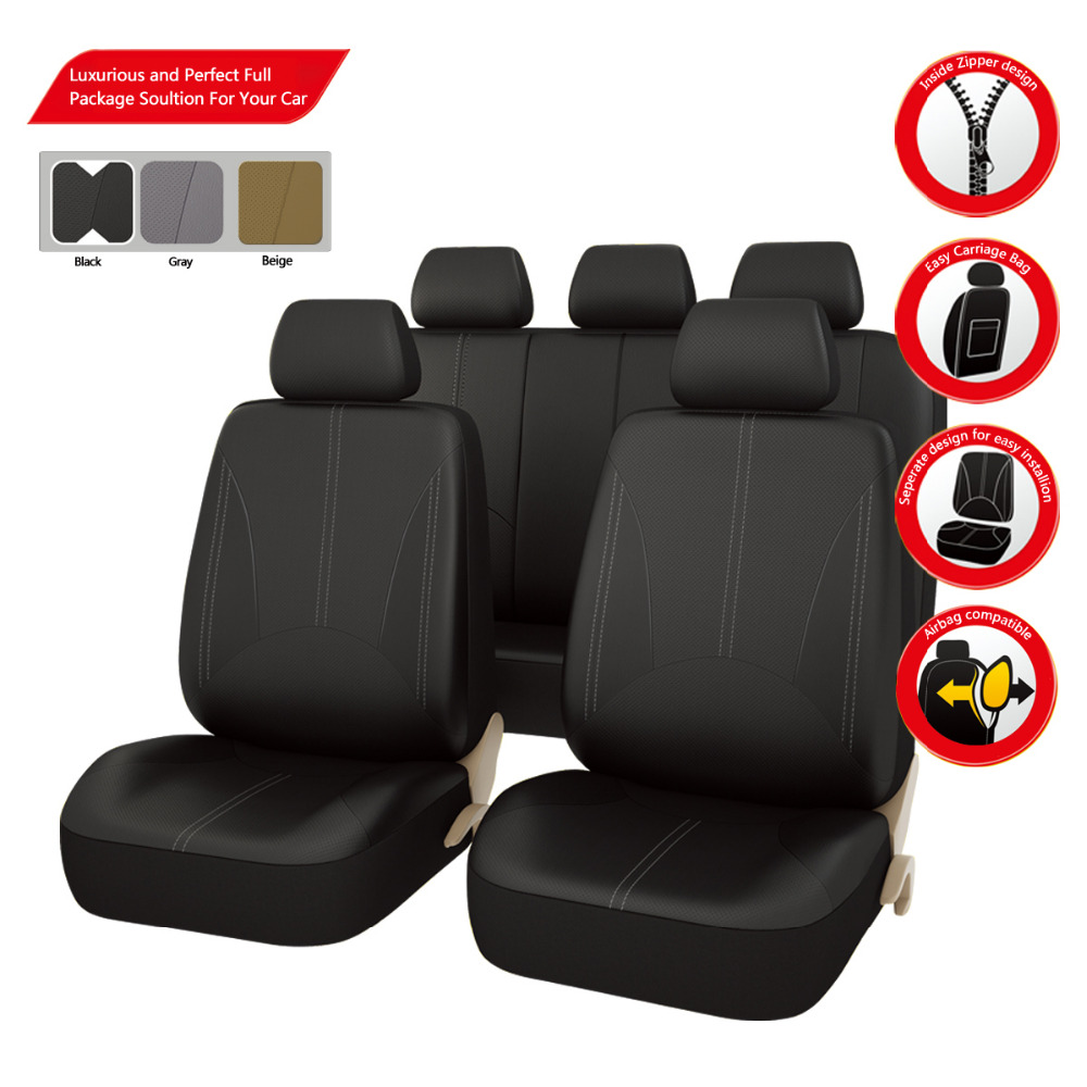 Car-pass  2017 PU Leather Automotive Universal  Car Seat Covers Black/Gray/Beige  for Vehicles mazda toyota Hyundai