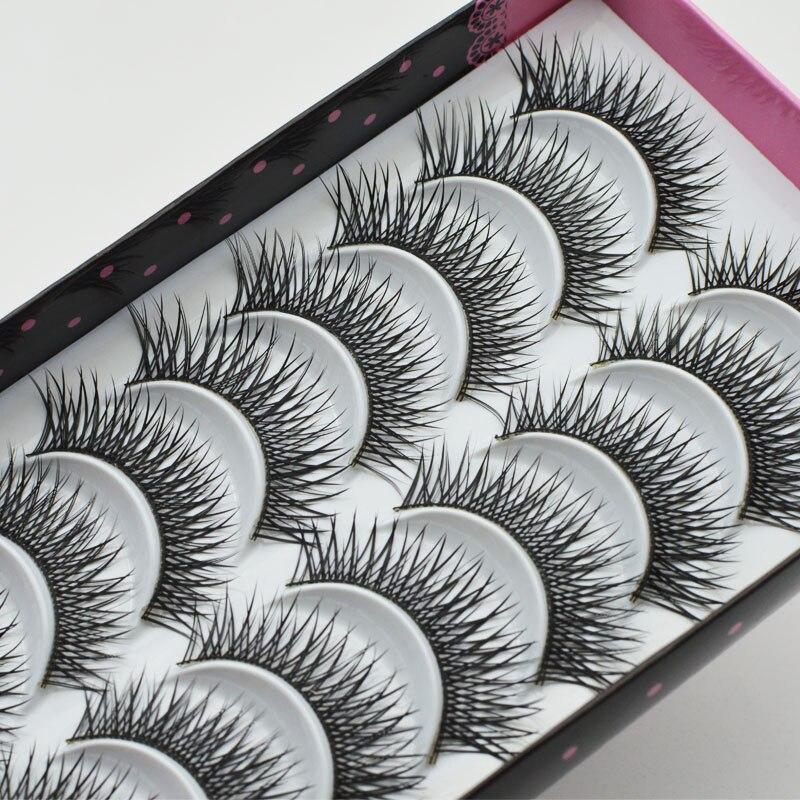 10Pairs Handmade Black Natural Long Sparse Cross False Eyelashes Popular Messy Eye Lashes Makeup Extension Tools C012