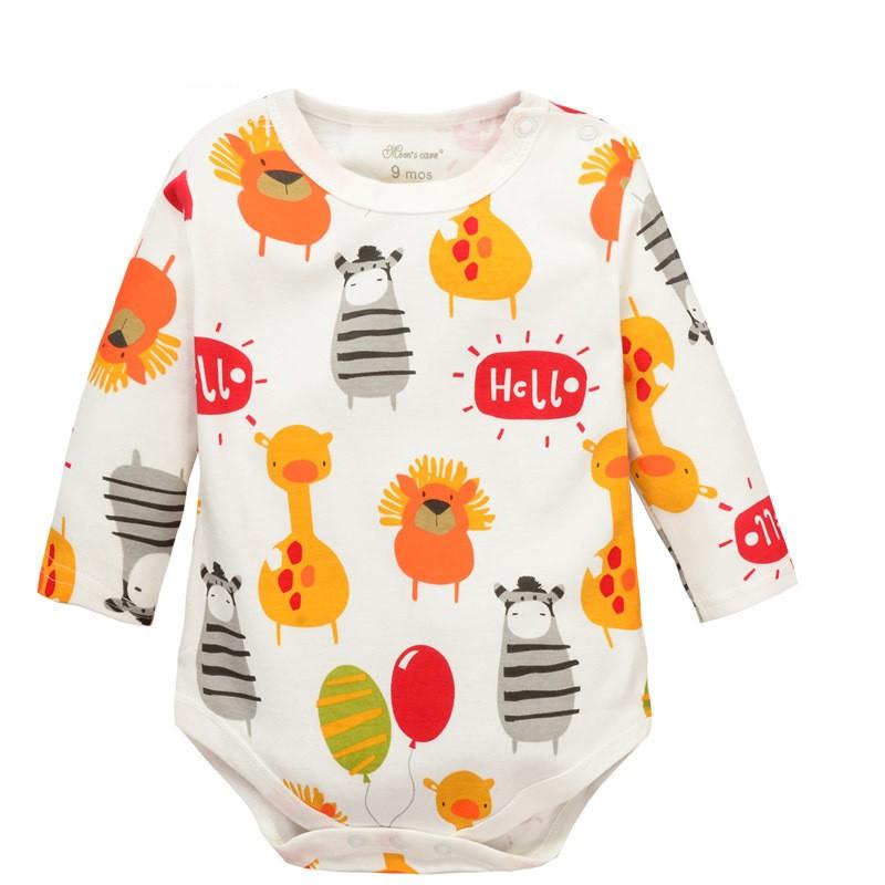 Cartoon Giraffe Zebra Long Sleeve Baby Romper