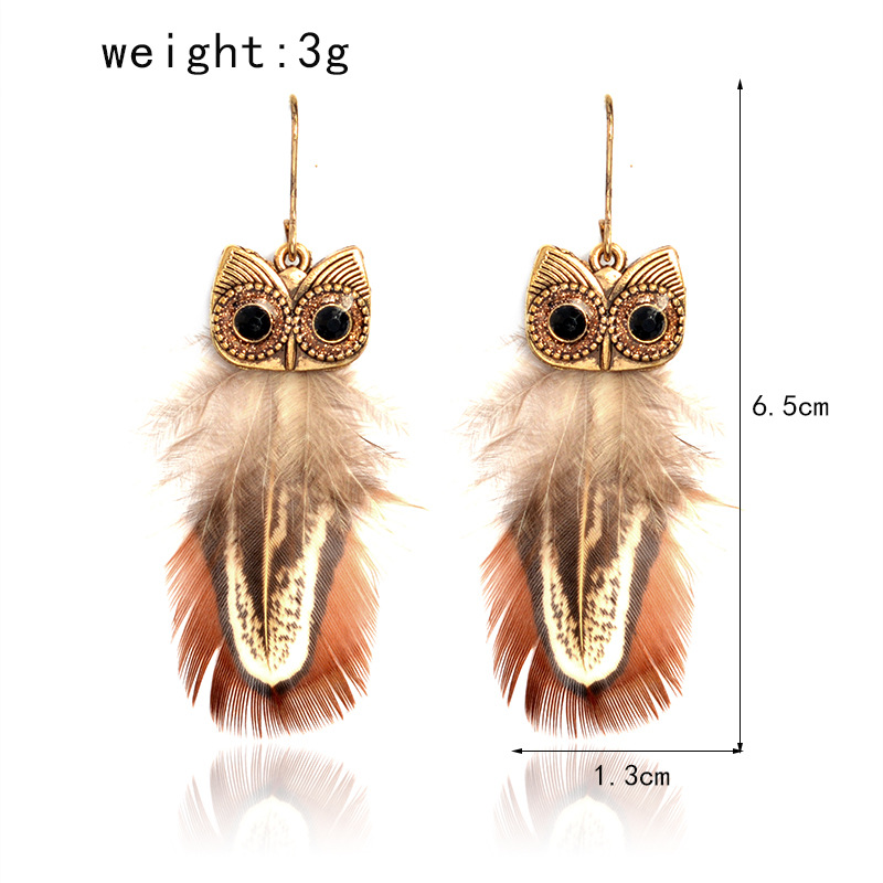 Retro Rhinestone Eagle Feather Peacock Pendant Earrings New Jewelery Earrings Europe And America