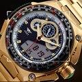 2017 Многофункциональный Двойной Дисплей Золотые Часы Водонепроницаемые Часы Армия Стол Бизнес мужская Мода Отдых Спорт Relogio Masculino