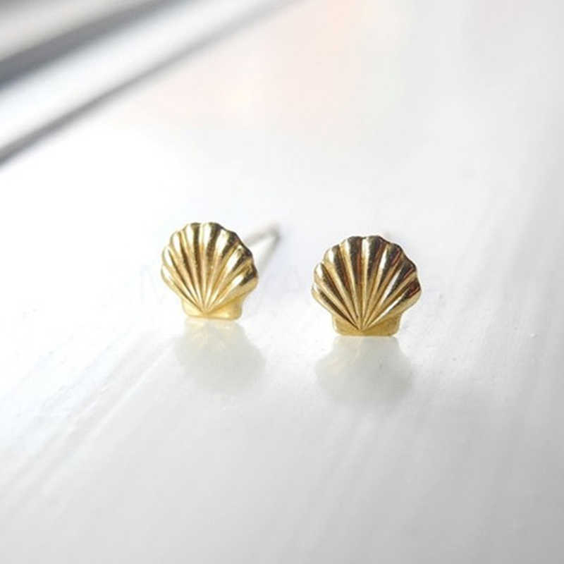 korean fashion shell earrings for women Gold/Silver Plated Stud Earrings cute  brincos Unique Earrings little mermai Jewelry