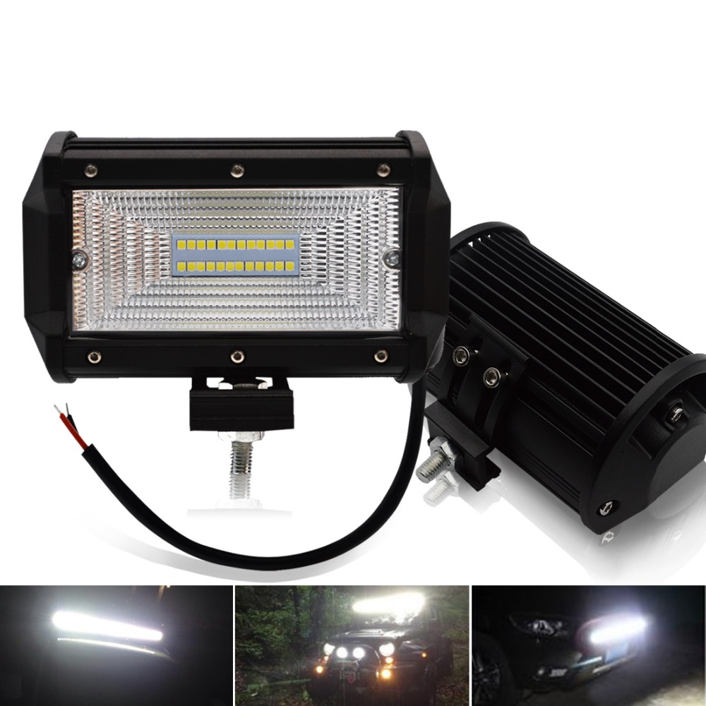 Safego 5 Inch 72W LED Flood Work Light bar 24*3W LED Chips Offroad Car Light Fog Light Driving Light For Trunk Boat Tractor|Light Bar/Work Light|Automobiles & Motorcycles - title=