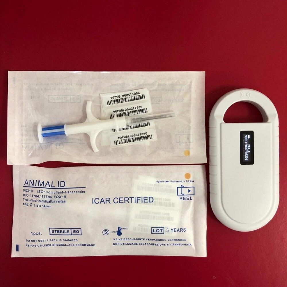ISO Animal Id scanner pet reader 134.2khz + 2pcs rfid chip implant syringe 2*12mm cattle id tracking reader pet microchip rfid scanner animal glass tag with 2pcs transponder chip syringe 2 12 12mm