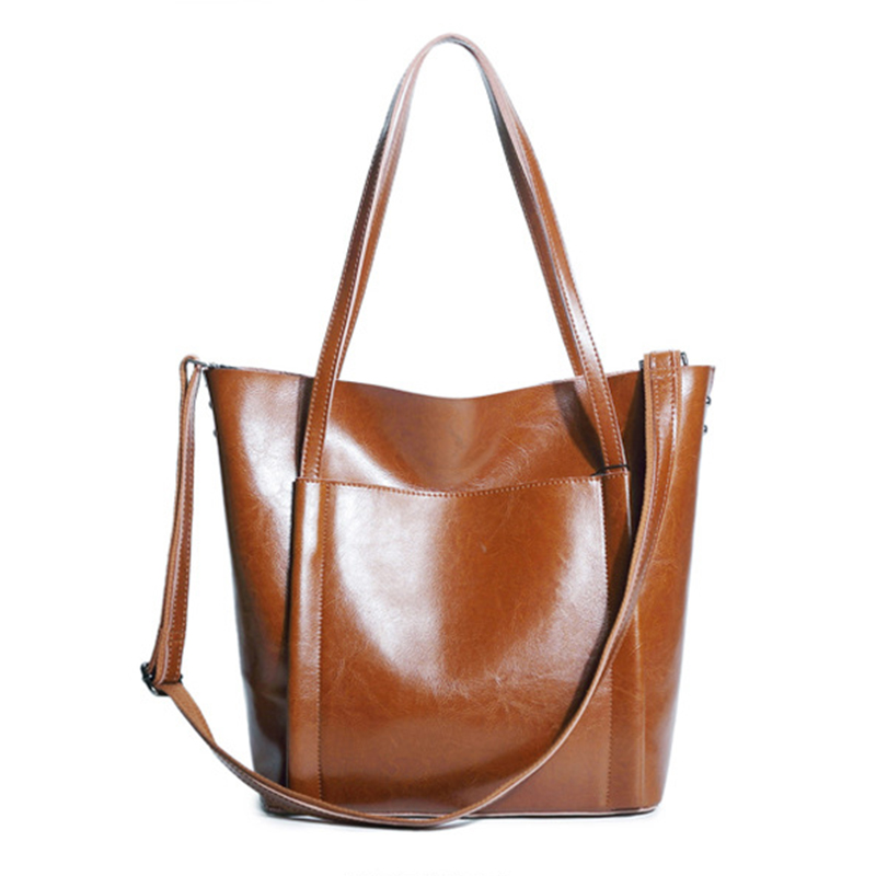 OMADNN Fashion Women Leather Handbag Brief Shoulder Bags Large Capacity Female Soft Tote Pack a main Femme Shoulder Bags/black 6 pack bags camille tote 4