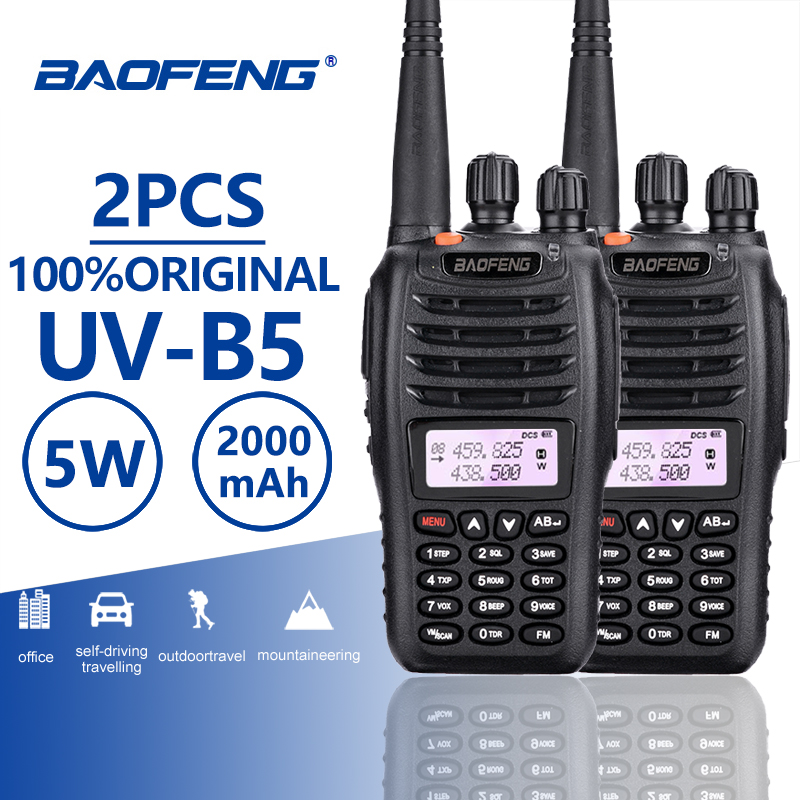 2pcs Baofeng UV B5 Walkie Talkie Police Equipment Professional Dual Band PTT UV B5 Mobile Radio Hf Transceiver Ham Radio UVB5