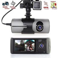 Dual Camera Car DVR R300/X3000 with GPS and 3D G Sensor 2.7 TFT LCD X3000 Cam Video Camcorder Cycle Recording Digital #0704