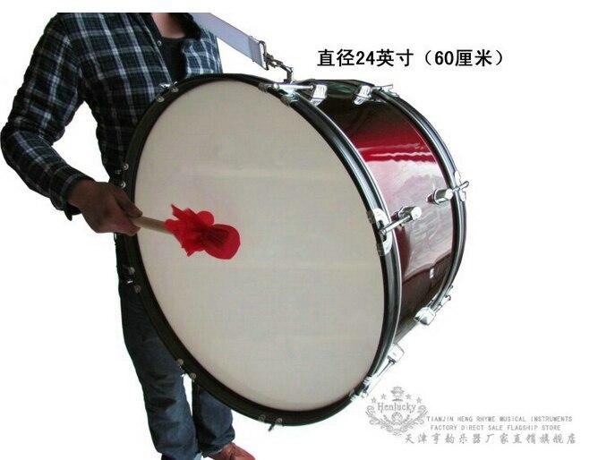 Henlucky Музыкальные инструменты 8 ногтей профессиональный бас армия барабан 24 дюймов красное вино Музыка команда студенческие спортивные