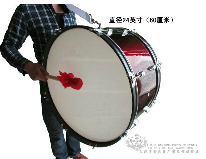 Henlucky Musical instruments 8 nail professional Bass Army drum 24 inch wine red Music Team student sports