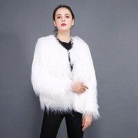 NAGODO 모피 재킷 여성 공장 도매 물 세척 긴 소매 양고기 모피 코트 모조