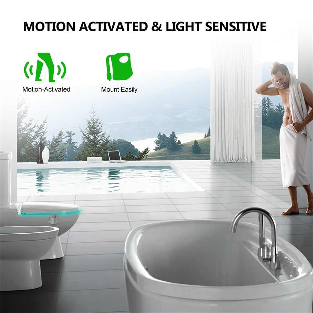 Умный датчик движения, сиденье для унитаза, ночник, 8 видов цветов, водонепроницаемая подсветка для унитаза, светодиодная лампа для унитаза