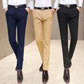 new 2016 spring men's Korean solid color men's straight trousers high-quality fashion Slim trend men's soft casual pants 28-40