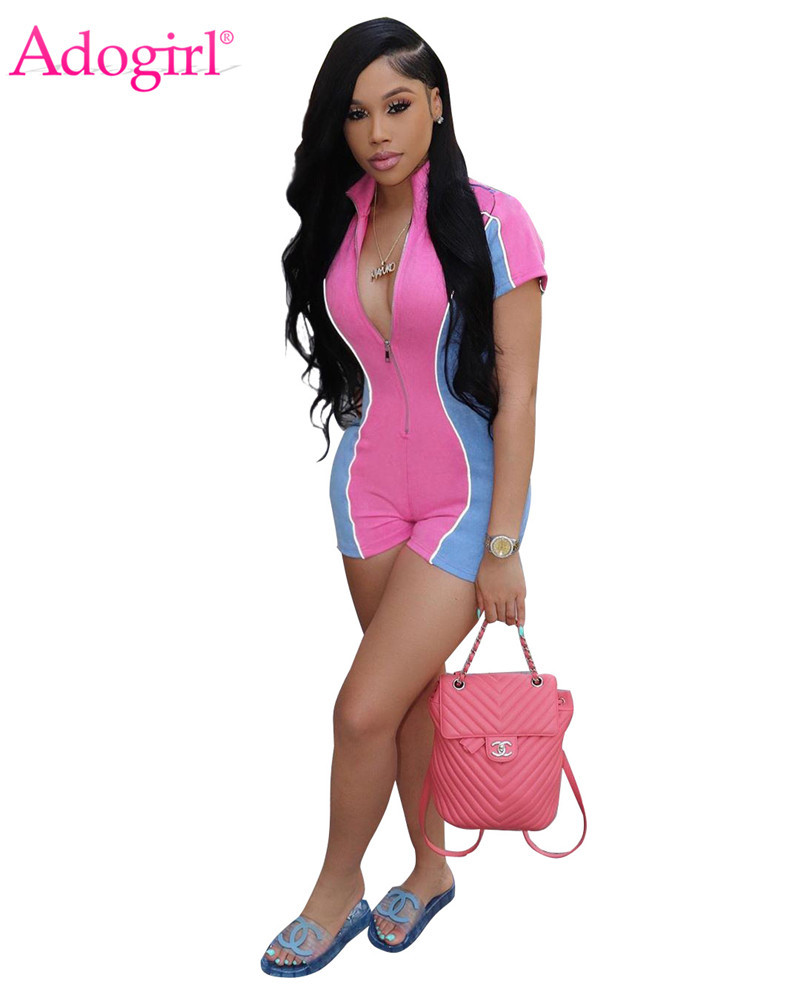 Adogirl Color Patchwork Short Sleeve Jumpsuit Women Romper Zipper V Neck Shorts Summer Playsuits Female Night Club Bodysuits