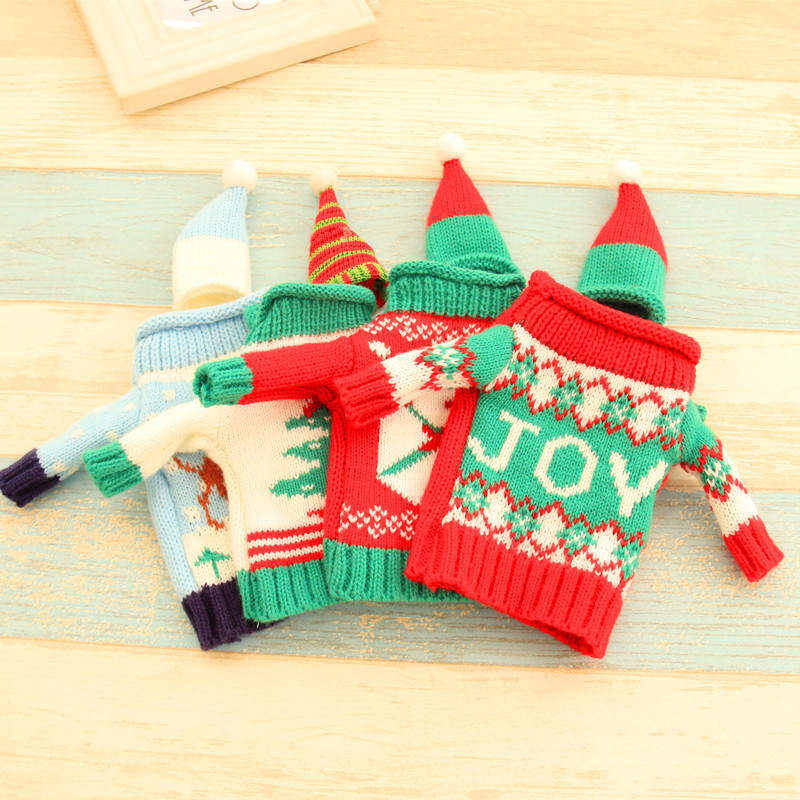 2pcs/set Christmas Decorations Wine Bottle Sweater Cover Bag Santa Claus Knitting Hats for New Year Xmas Home Dinner Party Decor 12