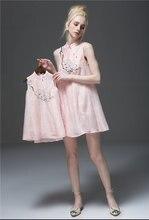 2016 лето улучшенная платье с лили печать стиль семьи соответствующие взгляд наряды матери-дочери мама и девушка платье G4