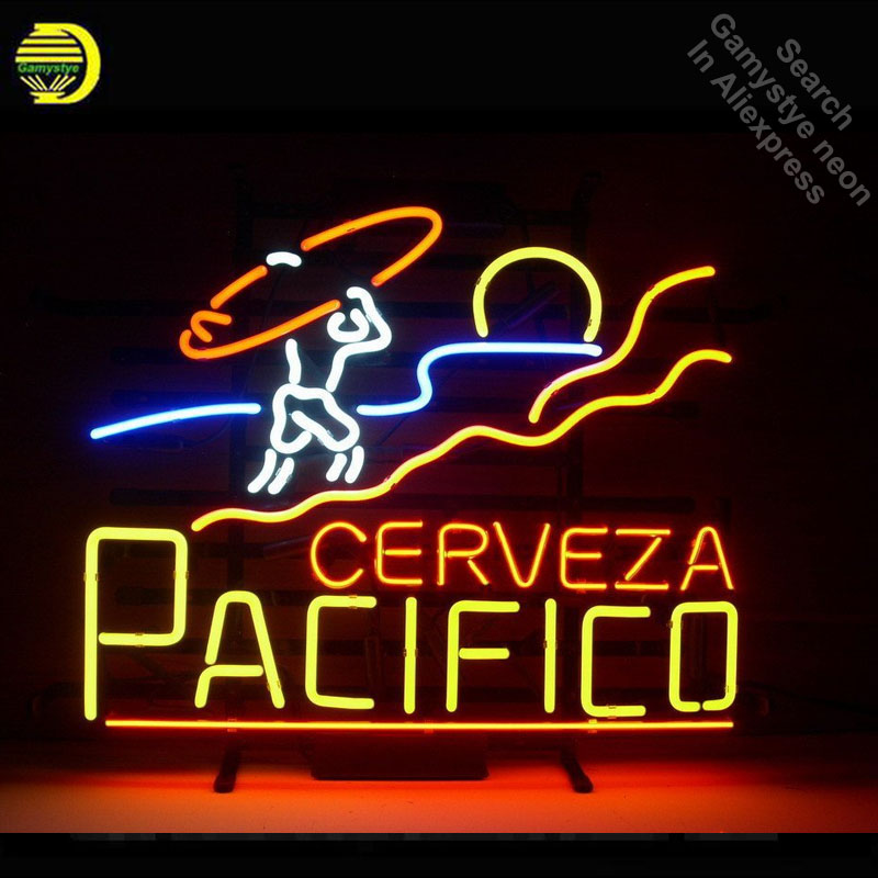 Neon Sign for Pacifico Clara Mexican Cerveza Neon Tube vintage sign handcraft Lamp Store Displays Gifts light Flashlight sign