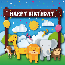 Laeacco Cartoon Jungle Party Deer Elephant Lion Baby Photography Backgrounds Customized Photographic Backdrop For Photo Studio