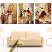 Hand painted canvas Triptych oil paintings vintage home decor wall pictures for living room Ballet Club painting by numbers